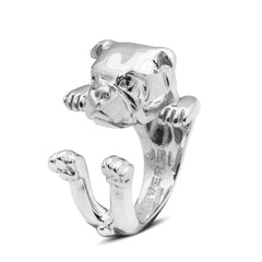 Dog Fever Sterling Silver English Bulldog Hug Ring