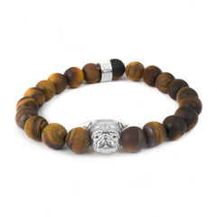 Dog Fever Sterling Silver Tiger's Eye Pug Bracelet