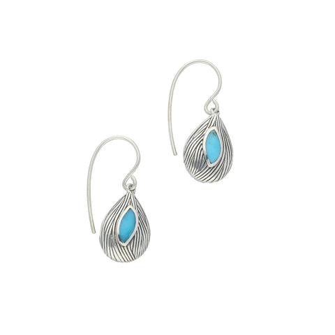 Turquoise Earrings Marquise Shape Wave Wood Effect Silver