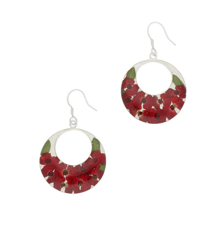 Floral Earrings Red Double Round Drop Silver Large