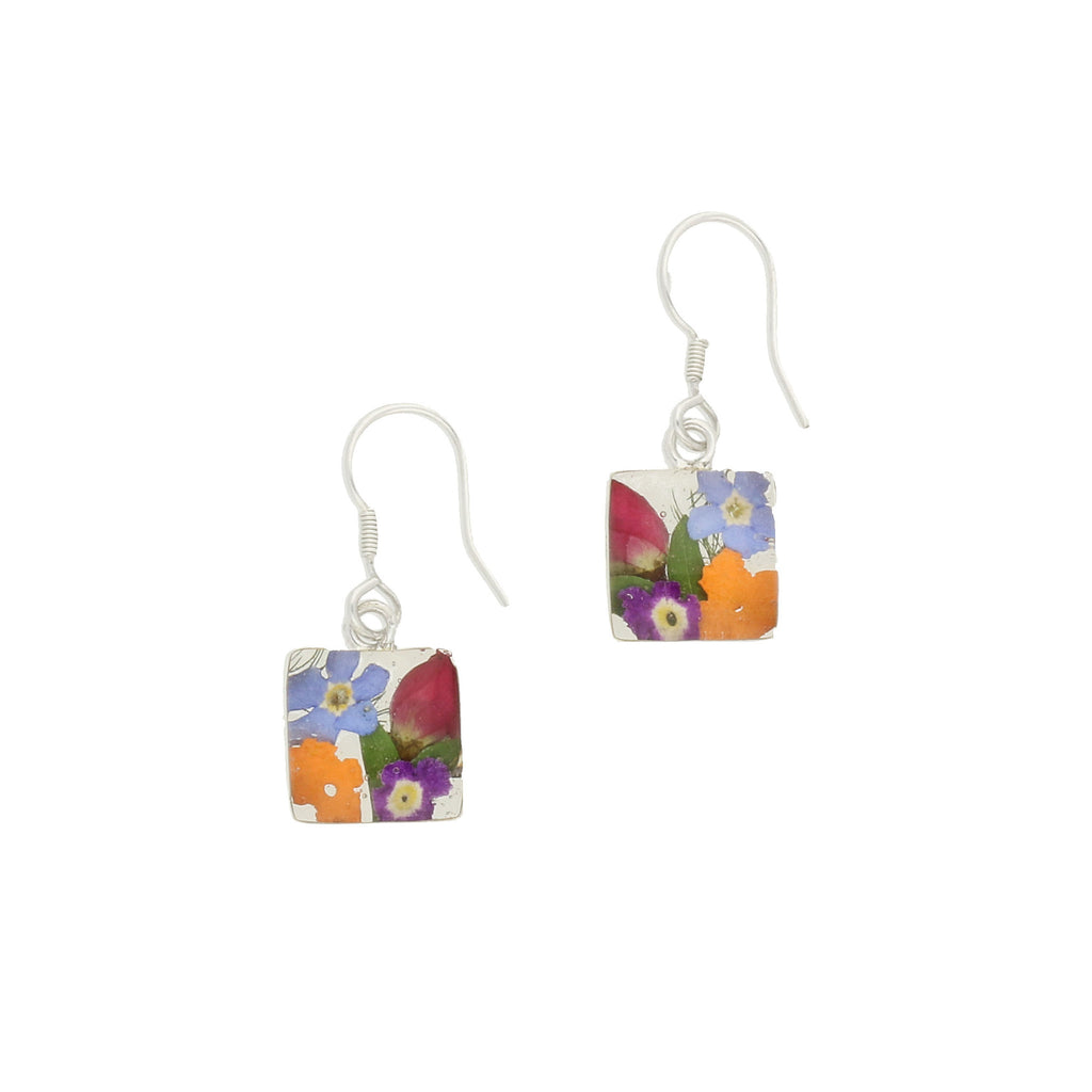 Floral Earrings Mixed Colours Square Drop Silver Small