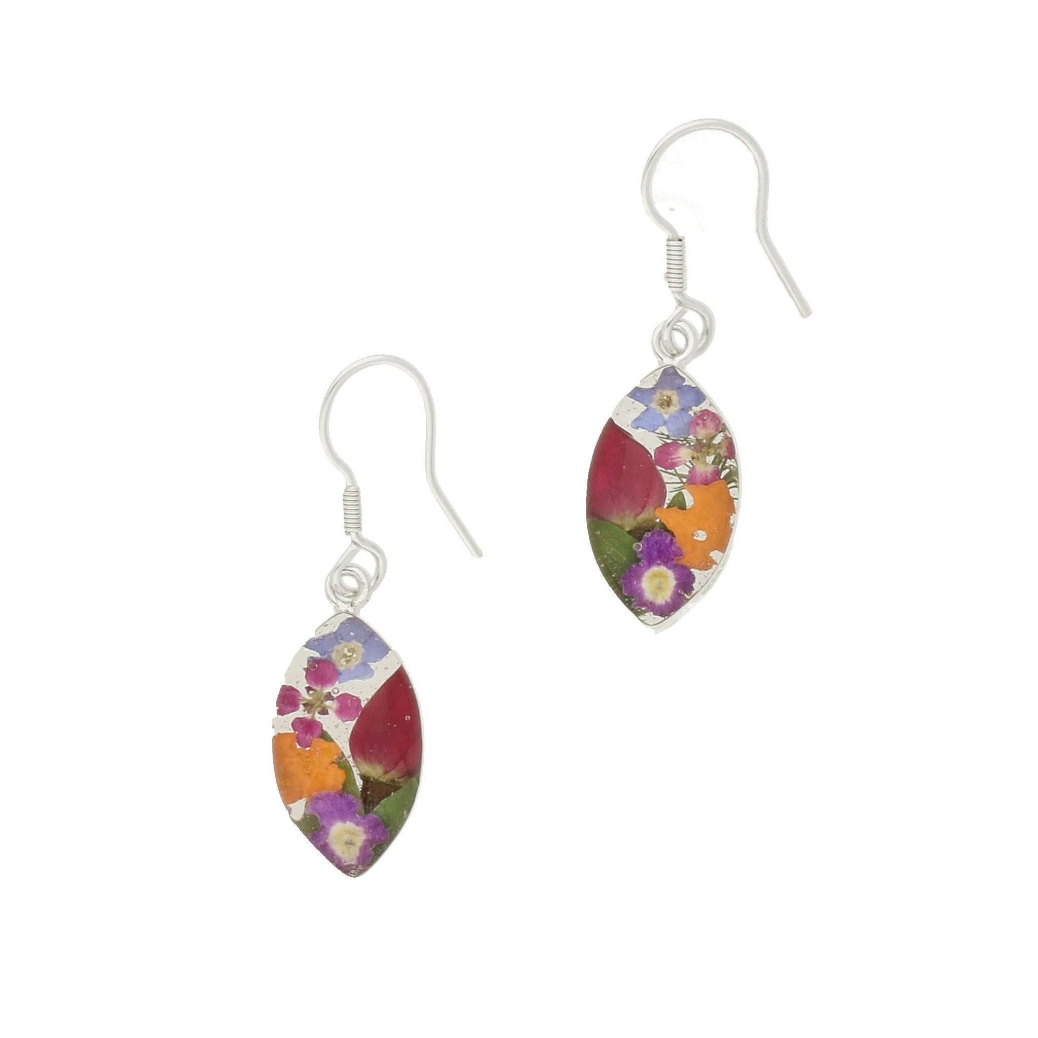 Floral Earrings Mixed Marquise Drop Silver Small
