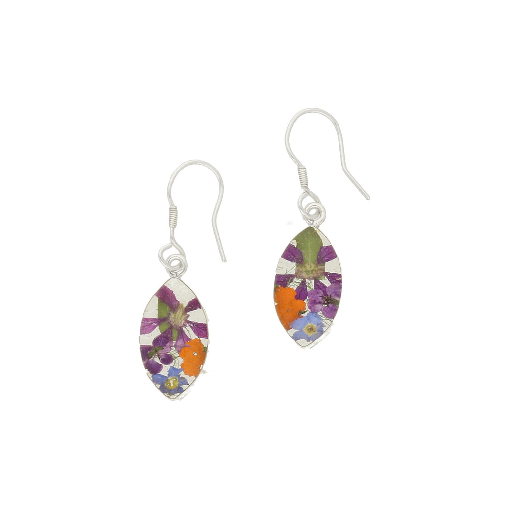 Floral Earrings Mixed Colours Teardrop Drop Silver Small
