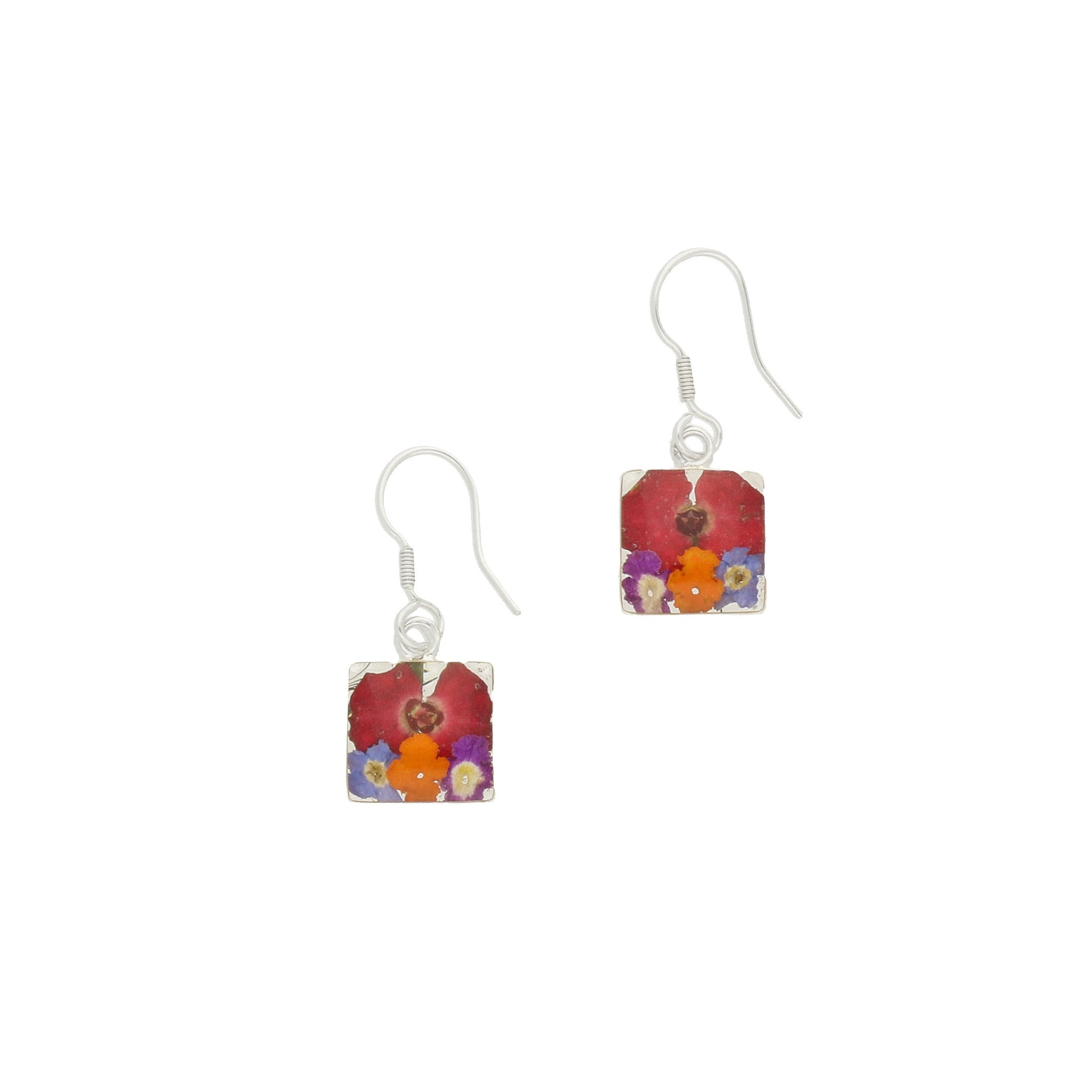 Floral Earrings Mixed Petals Square Drop Silver Small