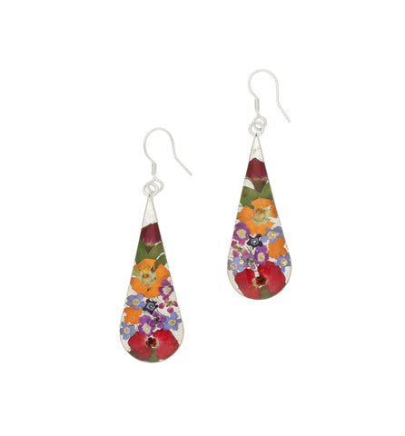 Floral Earrings Mixed Teardrop Drop Silver Large