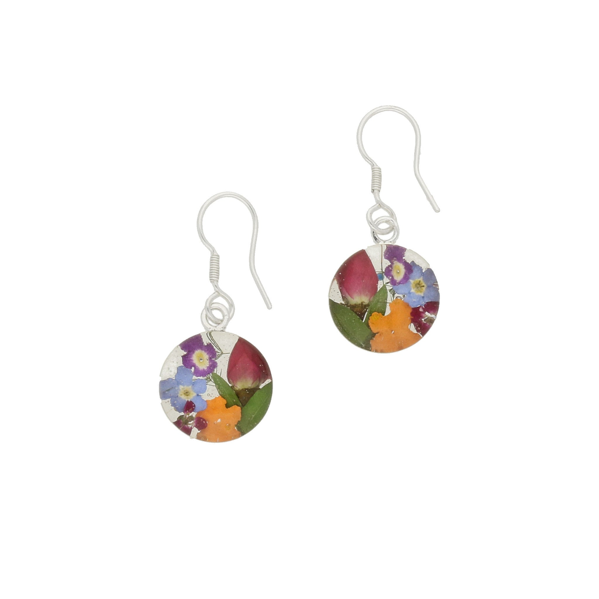 Floral Earrings Mixed Round Drop Silver Small