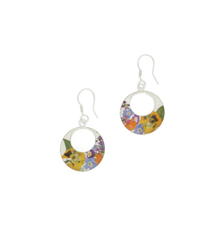 Floral Earrings Mixed Double Round Drop Silver Medium