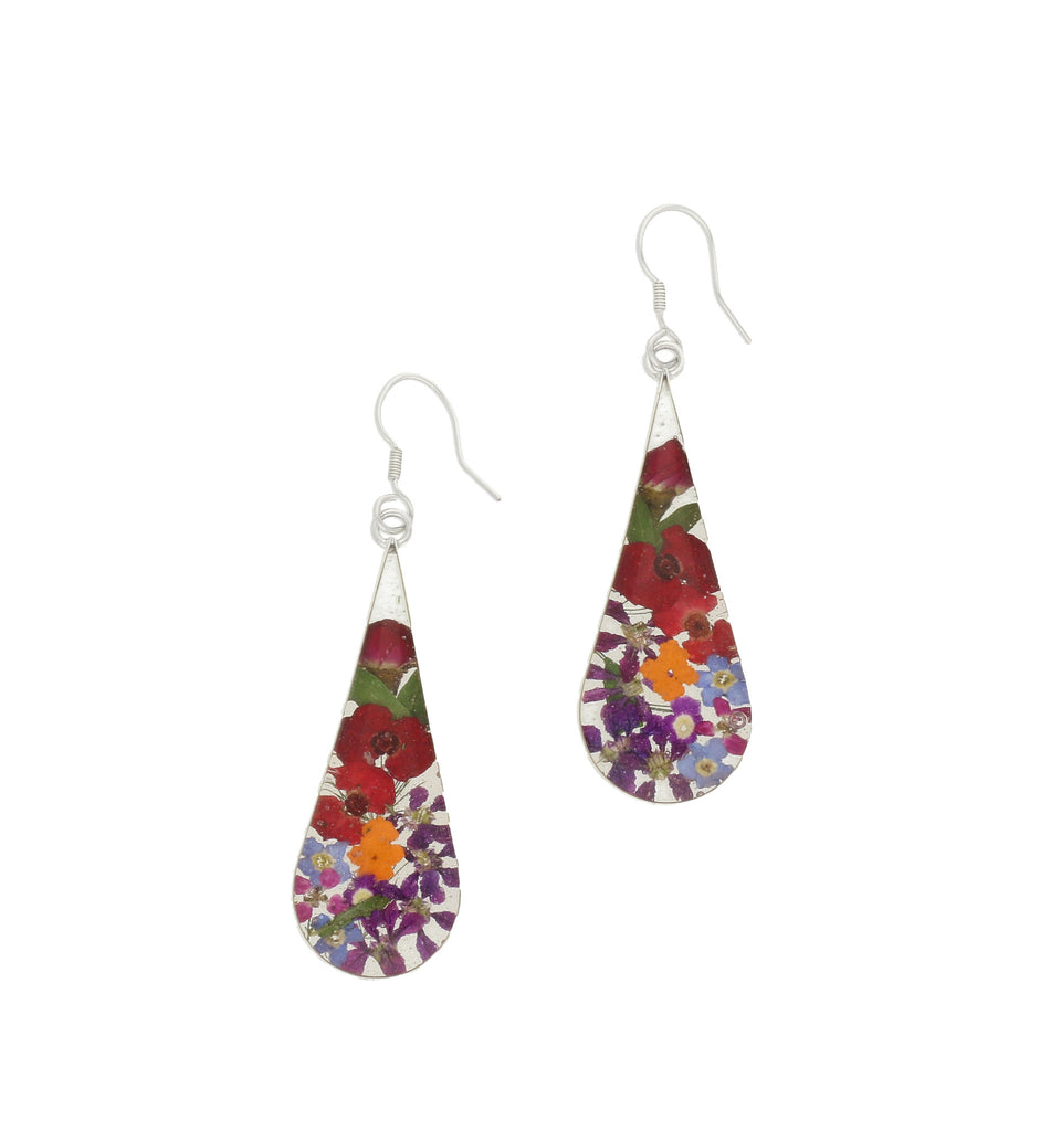 Floral Earrings Mixed Bright Teardrop Drop Silver Large