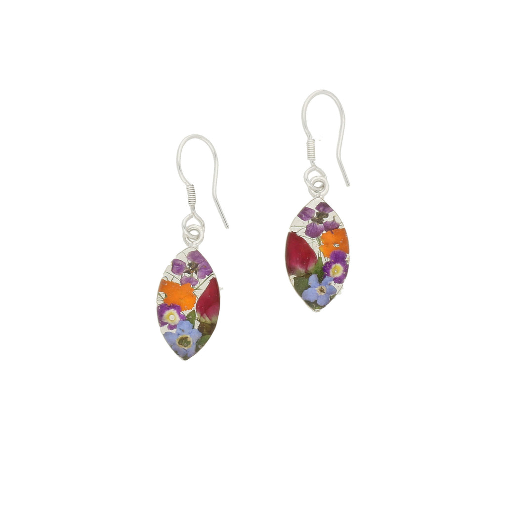 Floral Earrings Mixed Colours Marquise Drop Silver Small