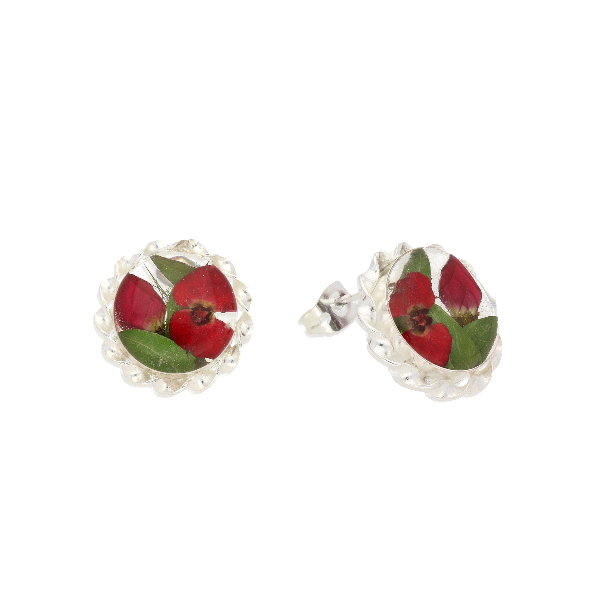 Floral Earrings Red Round Stud Silver Small