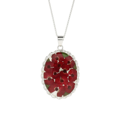Floral Necklace Red Oval Silver Large
