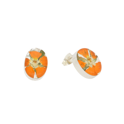 Floral Earrings Orange Oval Stud Silver Small