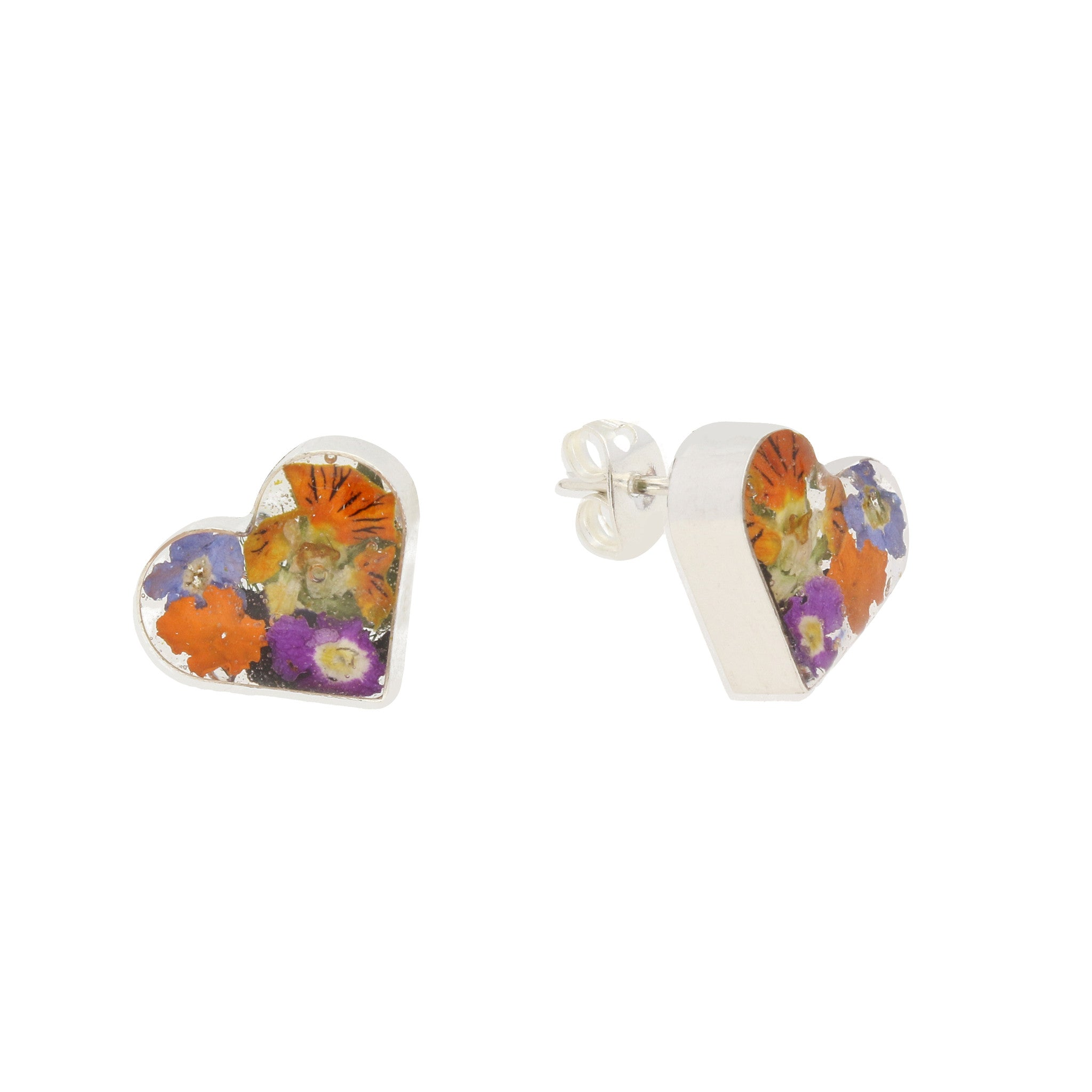 Floral Earrings Mixed Heart Stud Silver Small