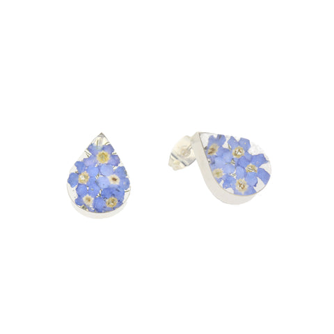 Floral Earrings Blue Teardrop Stud Silver Small