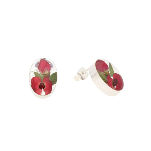 Floral Earrings Red Oval Stud Silver Small