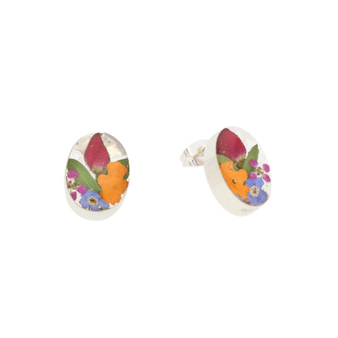 Floral Earrings Mixed Colourful Oval Stud Silver Small