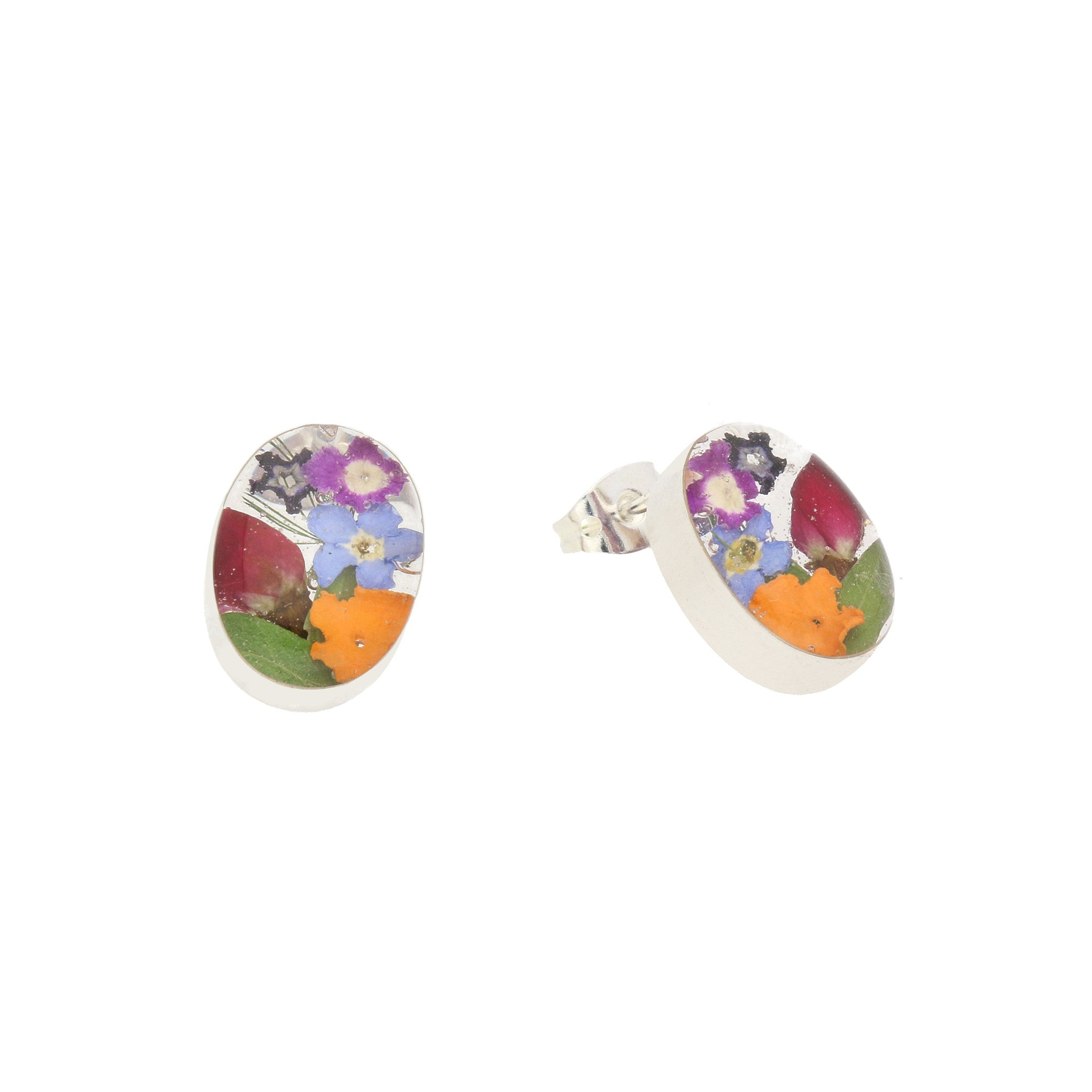 Floral Earrings Mixed Oval Stud Silver Small