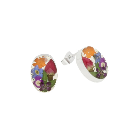 Floral Earrings Mixed Colours Oval Stud Silver Small