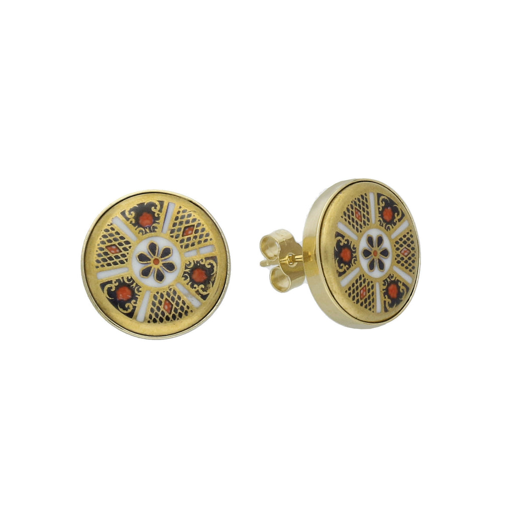 Royal Crown Derby Earrings Stud Round Imari 18ct Yellow Gold