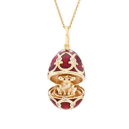 Faberge Palais Tsarskoye Selo Red Locket with Monkey Surprise 1667