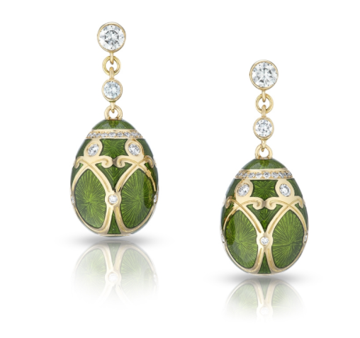 Faberge Palais Yelagin 18ct Yellow Gold Forest Green Earrings