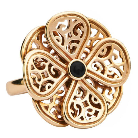 Flore 9ct Yellow Gold 8 Petal Whitby Jet 8 Petal Filigree Ring