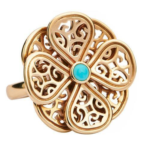Flore 9ct Yellow Gold Turquoise Filigree Eight Petal Ring
