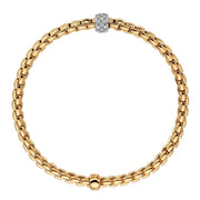Fope Eka Tiny 18ct Yellow Gold 0.19ct Diamond Bracelet, 733B/PAVE.
