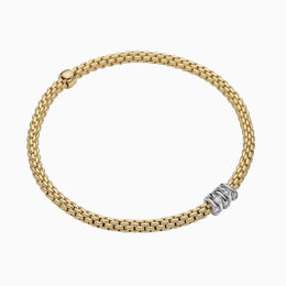 Fope Flex'it Prima 18ct Yellow Gold 0.20ct Diamond Bracelet, 748B/BBR.
