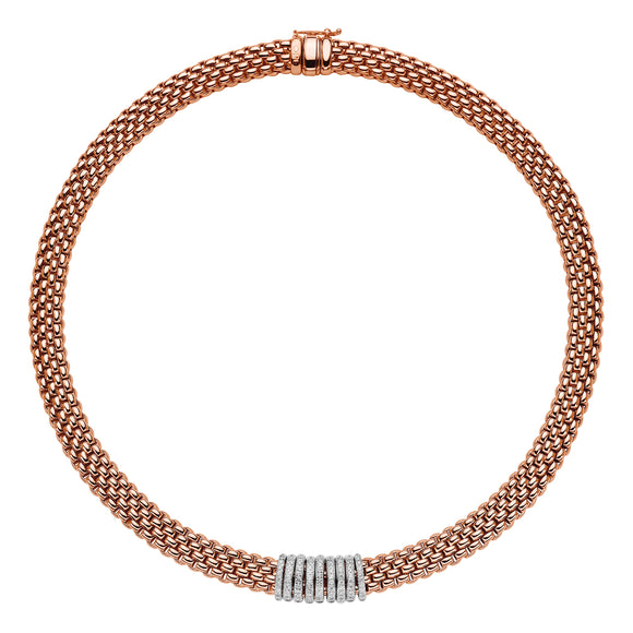 Fope Panorama 18ct Rose Gold 0.68ct Diamond Rondelle Necklace 588C PAVE