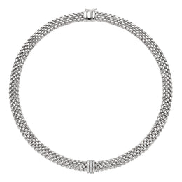 Fope Panorama 18ct White Gold 0.23ct Diamond Rondelle Necklace 587C PAVE