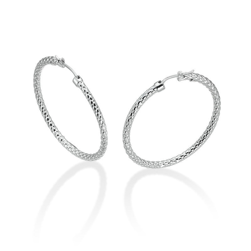 Fope 18ct White Gold Lovely Daisy Hoop Earrings