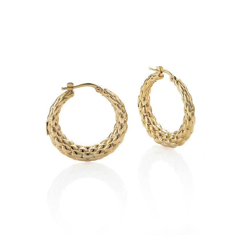 Fope 18ct Yellow Gold Lovely Daisy Hoop Earrings