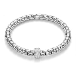 Fope Flex'It Eka 18ct White Gold 0.53ct Diamond Bracelet. 704B PAVE.