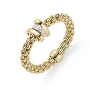 Fope Flex'it Prima 18ct Yellow Gold 0.10ct Diamond Ring, AN744/BBR.