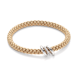 Fope Flex'It Solo 18ct Rose Gold 0.08ct Diamond Bracelet, 652B BBR.