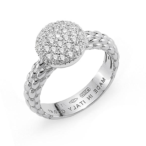 Fope Flex'It Solo 18ct White Gold Pave Set 0.41ct Diamond Ring. AN648 PAVE.