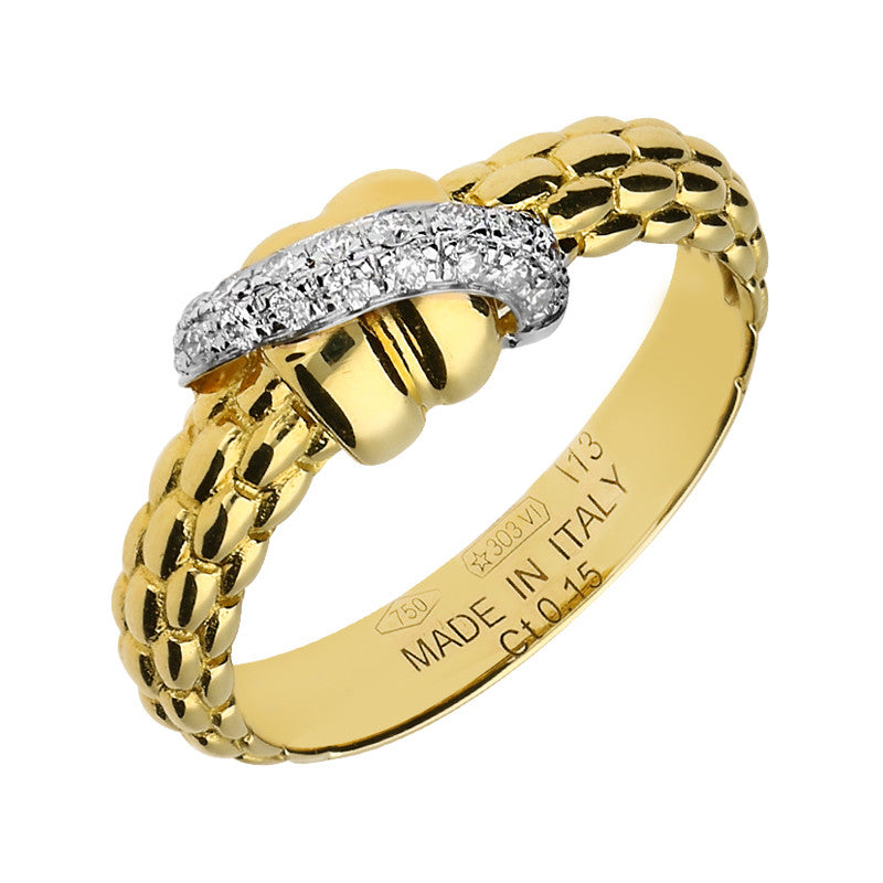 Fope Flex'It Solo 18ct Yellow Gold 0.15ct Diamond Ring