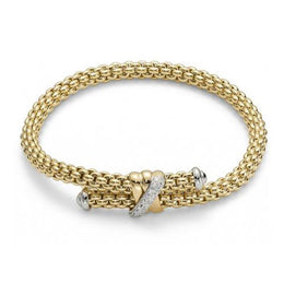 Fope Flex'It Solo 18ct Yellow Gold 0.20ct Diamond Bracelet