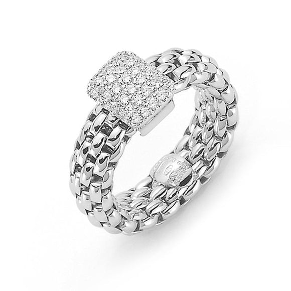 Fope Flex'It Vendome 18ct White Gold 0.41ct Pave Diamond Ring, AN560 PAVE.