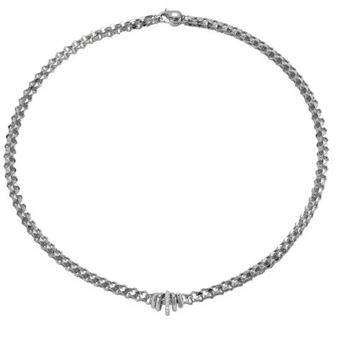 Fope Flex'It Wild Rose 18ct White Gold 0.12ct Diamond Necklace