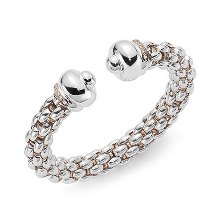 Fope Silverfope Sterling Silver Diamond Open Bangle