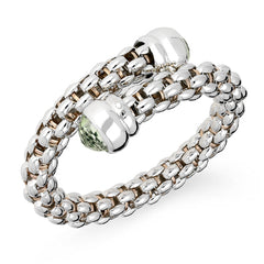 Fope Silverfope Sterling Silver Prasiolite Cross Over Bangle