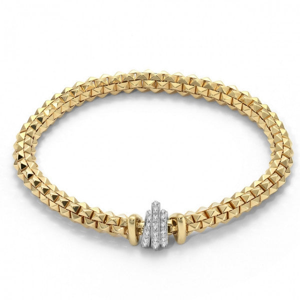 Fope Flex'It Wild Rose 18ct Yellow Gold 0.33ct Diamond Size M Bracelet