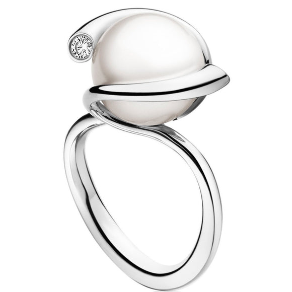 Georg Jensen Magic White Gold Pearl And Diamond Ring 3570188