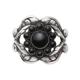 Georg Jensen Moonlight Blossom Sterling Silver Black Agate Ring 3558588