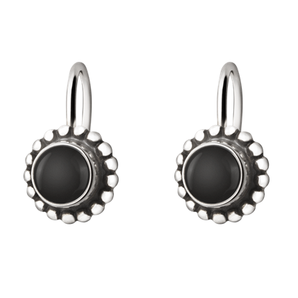 Georg Jensen Moonlight Blossom Sterling Silver Onyx Earrings D