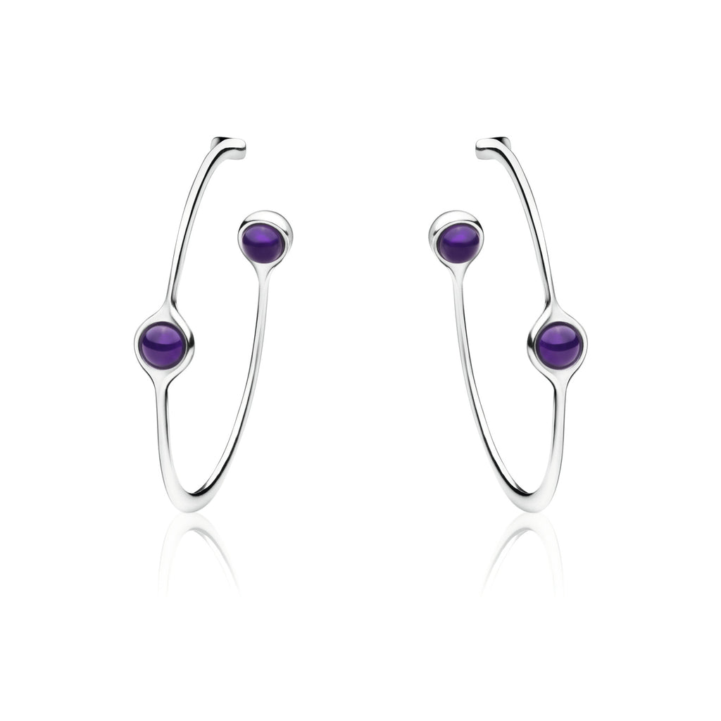 Georg Jensen Sphere Sterling Silver Amethyst Earrings D