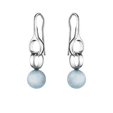 Georg Jensen Sphere Sterling Silver Aquamarine Earrings D