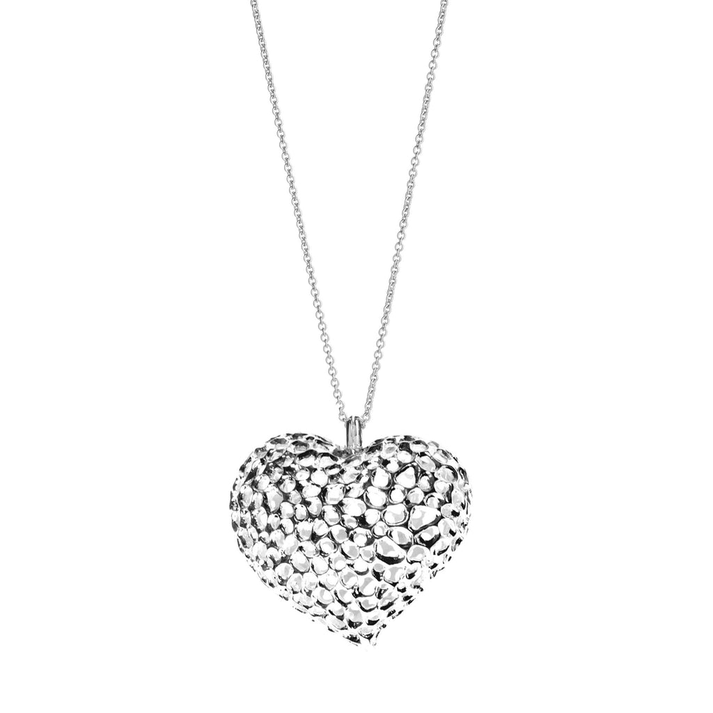 Rachel Galley Amore Sterling Silver Heart Lattice Locket Necklace
